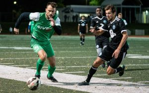 Players from FC Maritsa (green) and FC Minnesota challenge for the ball during their 2019 US Open Cup qualifying match. Photo: Mark Zimmerman