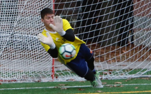 The goalkeeper for Safira FC, Patrick Vilela makes a save in the PK shootout against GPS Omens in the 2019 US Open Cup Qualifying tournament. Photo: Chris Aduama | Aduama.com