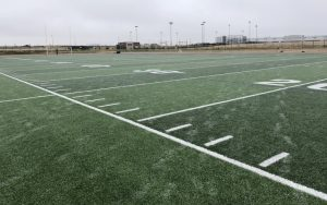 The field at Northfield High School in Denver was icy and not able to host the 2019 US Open Cup qualifying match between Gam United and FC Denver. Photo: Peter Andrews