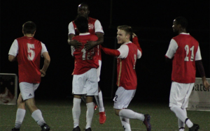 Players from International Portland Select celebrate one of their goals in a 2019 US Open Cup qualifying match against JASA RWC. Photo: Ben McFarland