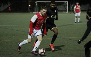 Players from International Portland Select and JASA RWC battle for the ball in a 2019 US Open Cup qualifying match. Photo: Ben McFarland