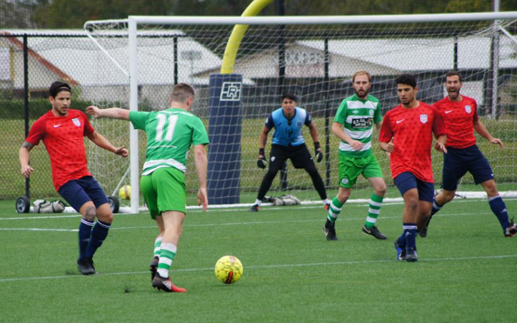Danny O'Reilly of Celtic Cowboys lines up a shot against Motagua of New Orleans in the 2019 US Open Cup qualifying tournament. Photo: Helen Koblitz