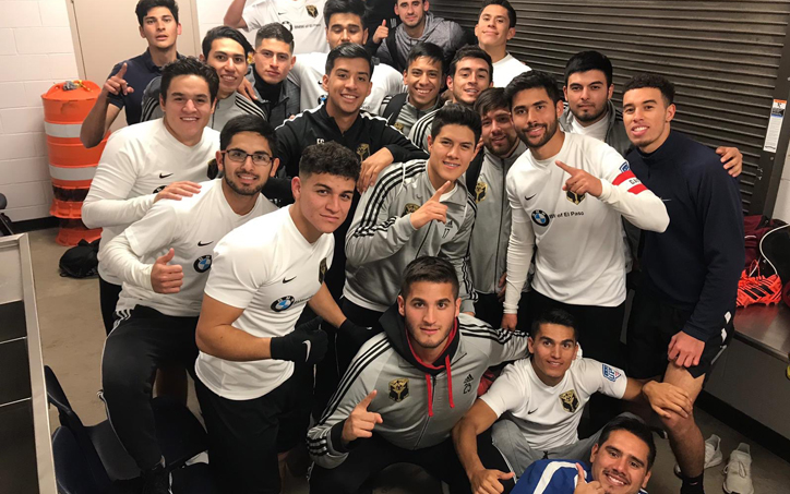 Southwest FC celebrates in the locker room after the club's 3-0 win over San Juan FC in the 2019 US Open Cup qualifying tournament. Photo: Southwest FC