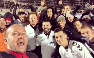 FC Denver celebrates after the club's 4-1 win over Gam United FC in their 2019 US Open Cup qualifier. Photo: FC Denver Twitter