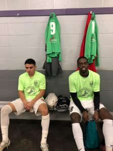 NTX Rayados players Christopher Escalera (left) and Cedric Nickerson get ready in the locker room before their 2019 US Open Cup qualifying match against Motagua of New Orleans. Photo: Goose | NTX Rayados
