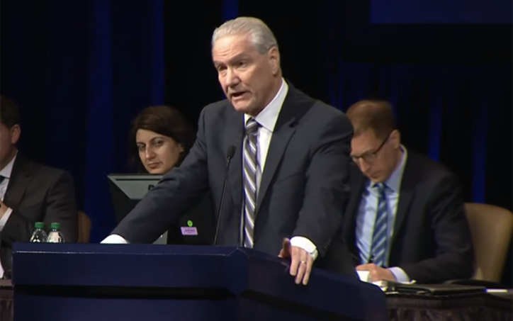 Dan Flynn, the CEO and Secretary General of US Soccer, speaks at the 2019 US Soccer Federation AGM on Feb. 16, 2019. Photo: YouTube.com Screen Shot