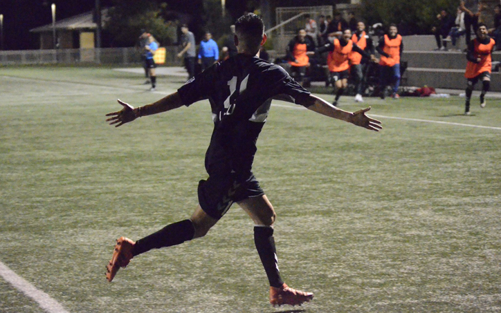 A player from Cal FC celebrates a goal as part of a 4-1 win against Santa Ana Winds in the Fourth Round of the Open Division Local qualifying tournament for the 2019 US Open Cup. Photo: Victor Friedman