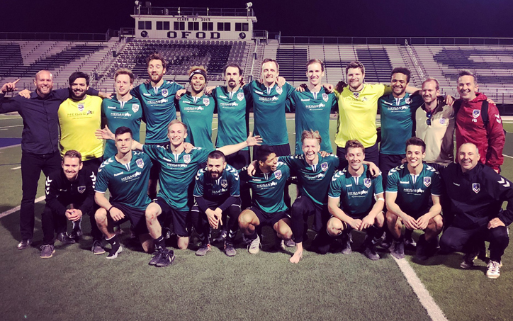 FC Denver poses for a team photo after the club's 4-3 extra time win over Southwest FC in the final round of the 2019 US Open Cup qualifying tournament. Photo: FC Denver
