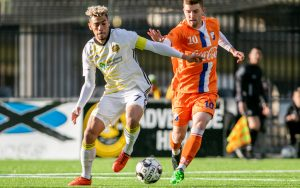 Players from the Pittsburgh Riverhounds (left) and the Dayton Dutch Lions battle for the ball in Tuesday's Second Round match in the 2019 US Open Cup. Photo: Chris Cowger | Pittsburgh Riverhounds