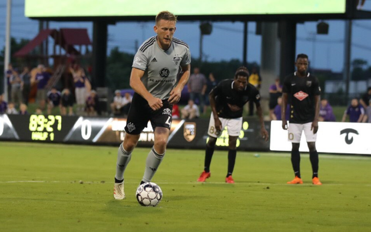 Sean Totsch steps up to take the game-winning penalty kick in Louisville City's 1-0 win over Birmingham Legion in the Third Round of the 2019 US Open Cup. Photo: Louisville City FC