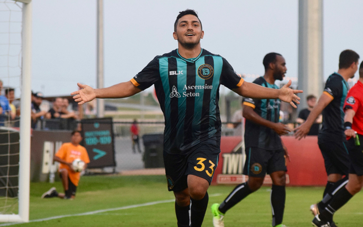 Sonny Guadarrama of Austin Bold FC was involved in three of the team's four goals (1 goals, 2 assists) in a 4-2 win over San Antonio FC. Photo: Austin Bold FC