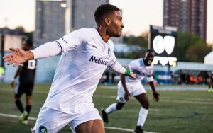 Aaron Dennis celebrates his goal for the New York Cosmos against Black Rock FC in the First Round of the 2019 US Open Cup. Photo: Matthew Levine | New York Cosmos