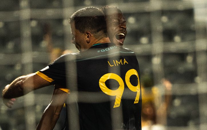Andre Lima and Sean McFarlane of Austin Bold FC celebrate a goal against Tulsa Roughnecks FC in the Second Round of the 2019 US Open Cup. Photo: Austin Bold FC