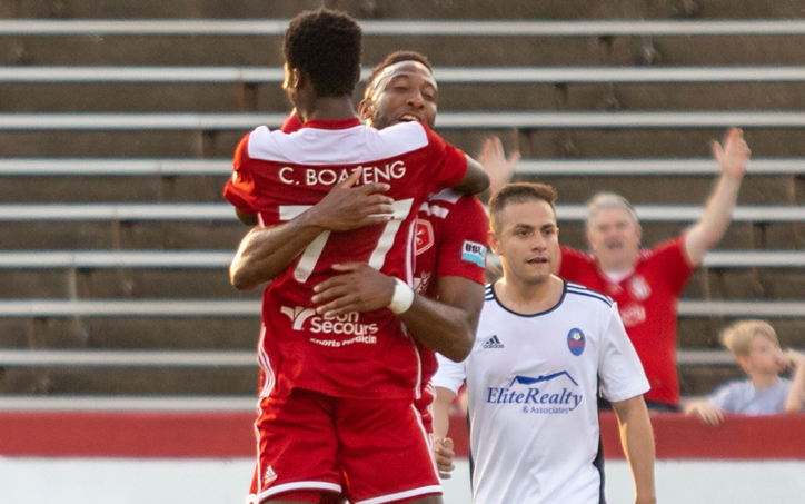 Charles Boateng of the Richmond Kickers celebrates one of his four goals against Virginia United in the First Round of the 2019 US Open Cup. Photo: Jessica Stone Hendricks Photography