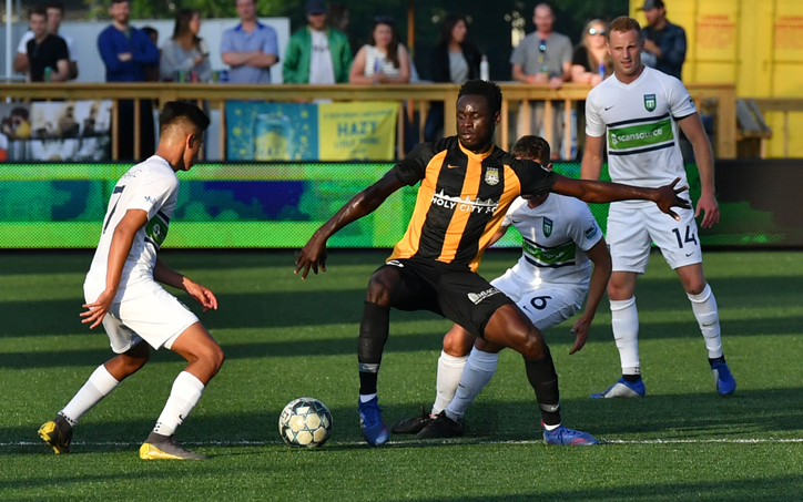 Players from the Charleston Battery and the Greenville Triumph battle for the ball in their Second Round match in the 2019 US Open Cup. Photo: Greenville Triumph
