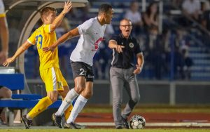 Players from the Charleston Battery and Nashville SC (yellow) battle for the ball in their Third Round match in the 2019 US Open Cup.  Photo: Jay Wilkinson | Nashville SC