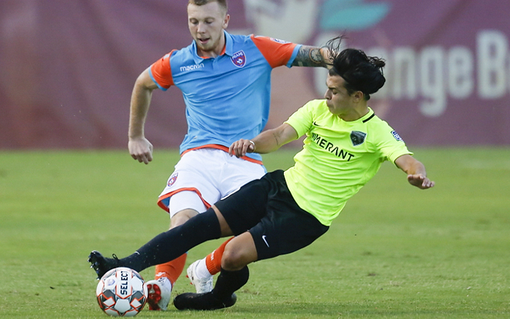 Players from Florida Soccer Soldiers and Miami FC battle for the ball in the First Round of the 2019 US Open Cup. Photo: Orovio Photography