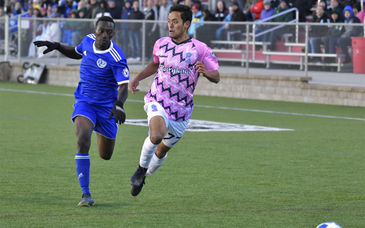 Players from Forward Madison (right) and Bavarian SC race to the ball in Tuesday's First Round match in the 2019 US Open Cup. Photo: Forward Madison