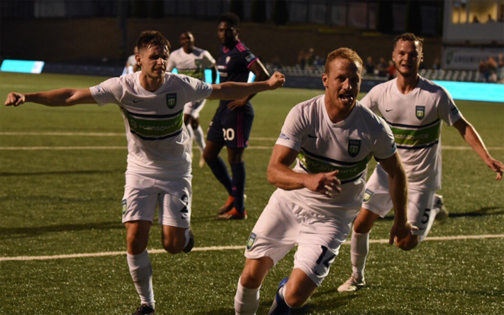 Players from Greenville Triumph celebrate the club's goal against South Georgia Tormenta in the First Round of the 2019 US Open Cup. Photo: Brittany Hildreth | Twitter: @britthildreth