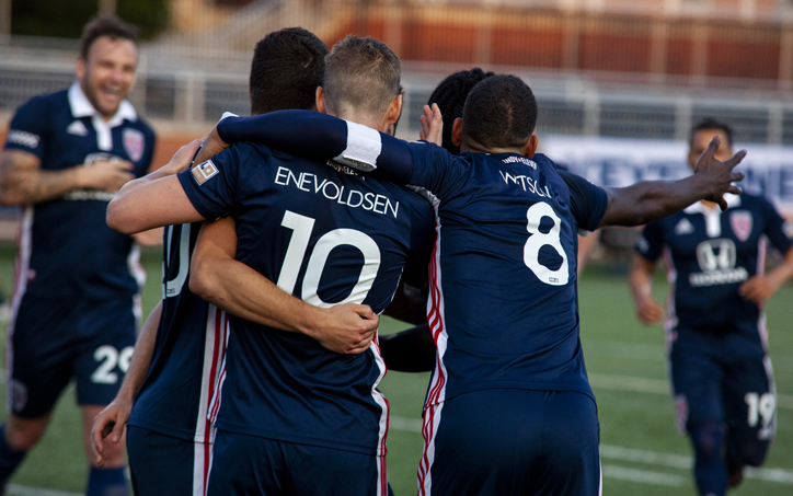 Players from Indy Eleven celebrate with Thomas Enevoldsen after he scored the go-ahead goal against Lansing Ignite in the Second Round of the 2019 US Open Cup. Photo: Robbie Mehling | Soc Takes