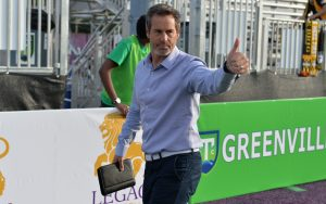 Greenville Triumph head coach John Harkes gives a thumbs up before his club's Second Round match in the 2019 US Open Cup against the Charleston Battery. Photo: Greenville Triumph