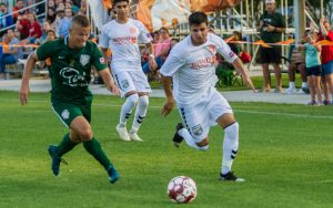 Players from The Villages SC (left) and Lakeland Tropics battle for the ball in a 2019 US Open Cup First Round match. Photo: Christopher Arnold