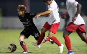 Players from the Laredo Heat and Brazos Valley Cavalry battle for the ball in the First Round of the 2019 US Open Cup. Photo: Laredo Heat