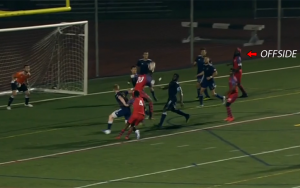 The Philadelphia Lone Stars had an equalizer ruled offside in their First Round match in the 2019 US Open Cup. This screen shot shows the play that was ruled offside.