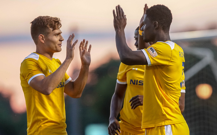 Nashville SC players celebrate one of their three goals in the club's 3-2 win over South Georgia Tormenta FC 2 in the Second Round of the 2019 US Open Cup. Photo: Jay Wilkinson | Nashville SC