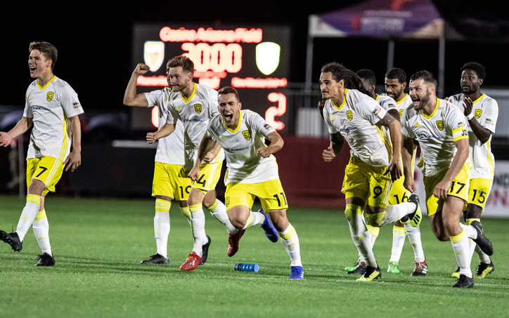 New Mexico United celebrates their penalty kick win over Phoenix Rising FC in the Second Round of the 2019 US Open Cup. Photo: Michael Rinconn   PHXRisingFC.com