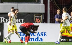 New Mexico United players celebrate a goal scored against Phoenix Rising FC in the Second Round of the 2019 US Open Cup. Photo: Michael Rinconn   PHXRisingFC.com
