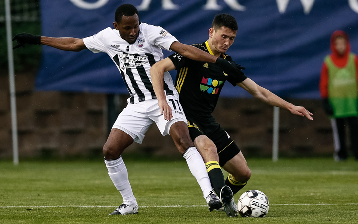 Players from the Colorado Springs Switchbacks (left) and New Mexico United battle for the ball in a Third Round matchup in the 2019 US Open Cup. Photo: Isaiah J. Downing/Switchbacks FC