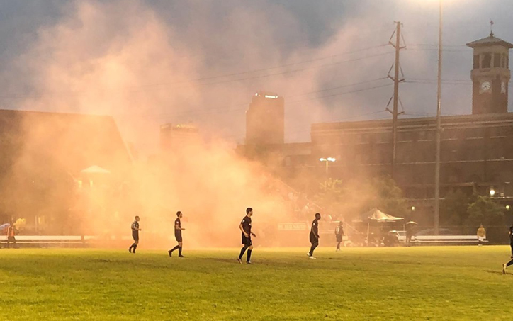 The scene of the NTX Rayados vs. Little Rock Rangers FIrst Round game in the 2019 US Open Cup after the Rangers scored a goal. Photo: Little Rock Rangers
