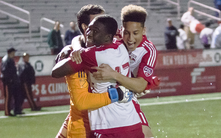 The New York Red Bulls Under-23s celebrate a goal against FC Motown in the First Round of the 2019 US Open Cup. Photo: Bob Larson