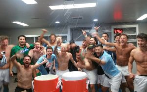 Orange County FC celebrate in the locker room after the club's 5-3 upset win over Las Vegas Lights FC in the Third Round of the 2019 US Open Cup. Photo: Orange County FC