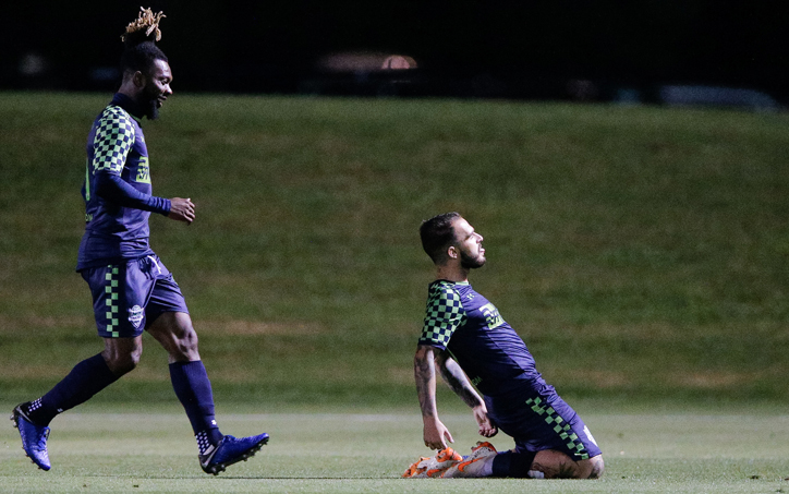 Alexy Bosetti of OKC Energy FC celebrates his goal against the Tampa Bay Rowdies in the 2019 US Open Cup Third Round. Photo: Steven Christy   IG: @stevenchristyphoto