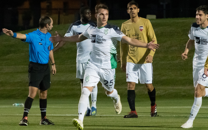 Amer Sasivarevic of OKC Energy FC celebrates his goal in the 51st minute against NTX Rayados in the Second Round of the 2019 US Open Cup. Photo: Lori Scholl