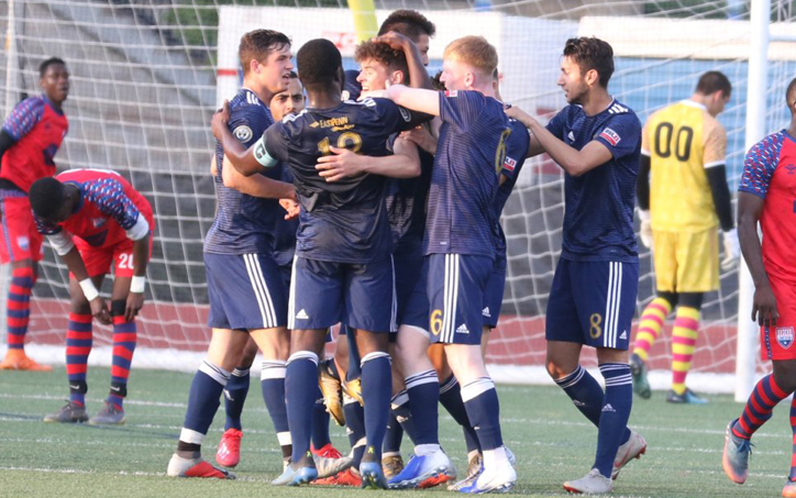 Players from Reading United celebratea goal scored against Philadelphia Lone Star in the First Round of the 2019 US Open Cup. Photo: Matt Ralph | Brotherly Game