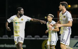 Kenardo Forbes of the Pittsburgh Riverhounds celebrates his 85th minute goal against Indy Eleven in the Third Round of the 2019 US Open Cup. Photo: Riverhounds SC