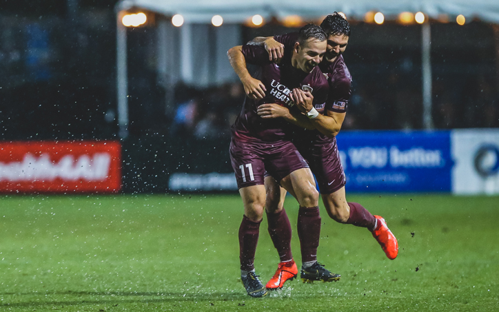 Sam Werner (No. 11) celebrates his go-ahead goal for the Sacramento Republic in the club's Second Round match against Reno 1868 FC. Photo: Sacramento Republic FC