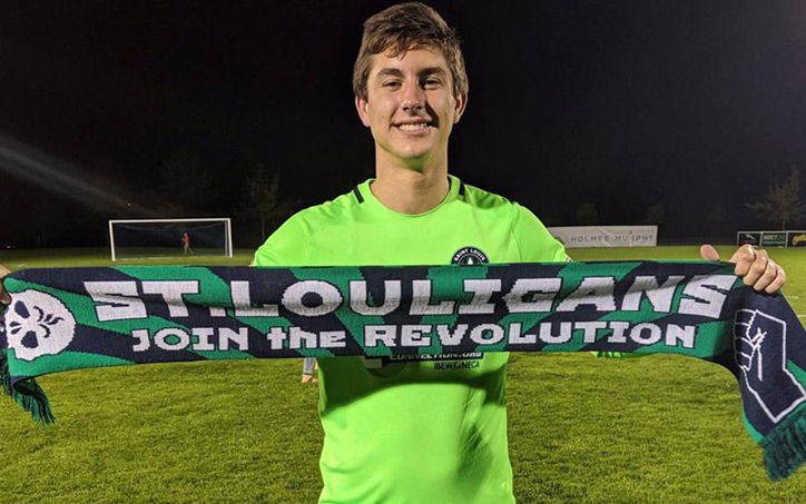 18-year-old Patrick Schulte of Saint Louis FC becomes just the 10th goalkeeper in the Modern Era (1995-present) to make three saves in a PK shootout. Photo: Matt Bird