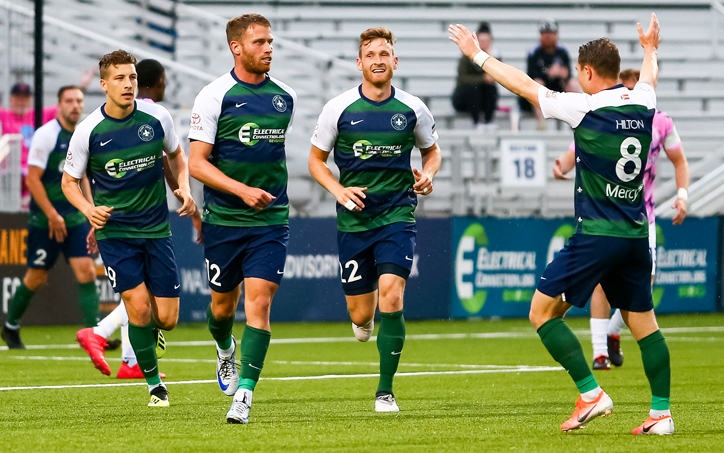 Players from Saint Louis FC celebrate a goal against Forward Madison in the Third Round of the 2019 US Open Cup. Photo: Saint Louis FC