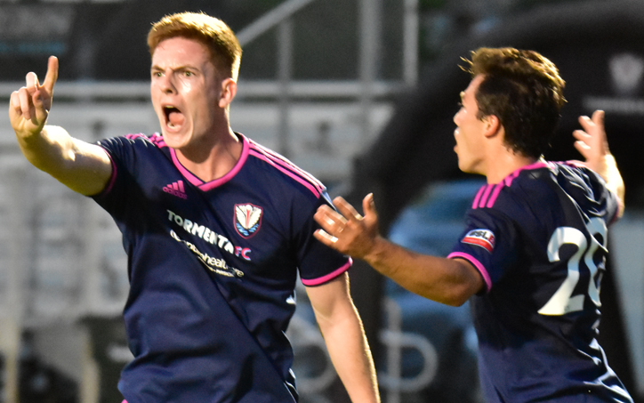 Players from South Georgia Tormenta 2 celebrate in a First Round game against the Chattanooga Red Wolves in the 2019 US Open Cup. Photo: Raphael Pantin