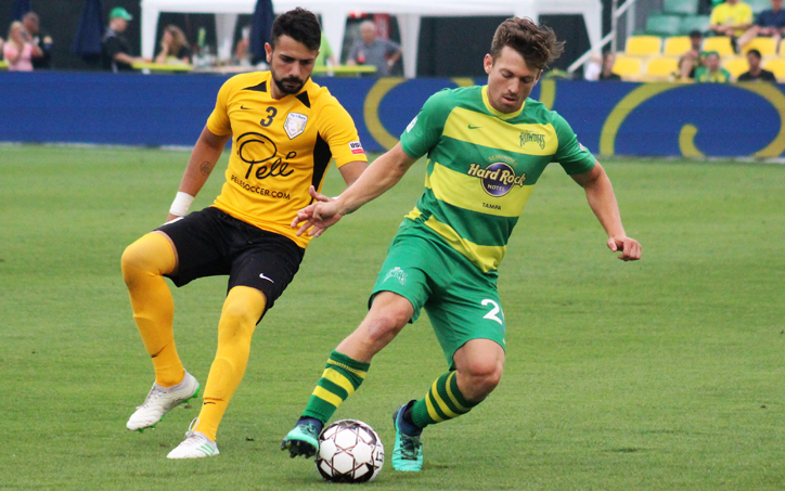 Players from the Tampa Bay Rowdies (right) and The Villages SC battle for the ball in their Second Round match in the 2019 US Open Cup. Photo: Tampa Bay Rowdies