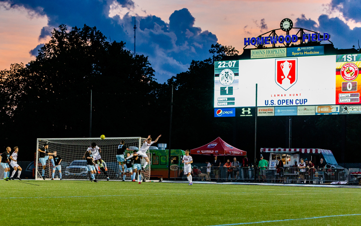 A scene from the first half of the First Round match between West Chester United and FC Baltimore Christos in the 2019 US Open Cup. Photo: @finchamphoto