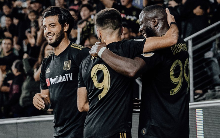 Players from LAFC celebrate a goal against the San Jose Earthquakes in a Round of 16 match in the 2019 US Open Cup. Photo: LAFC