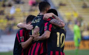 Brandon Vazquez of Atlanta United celebrates one of his goals with his teammates in his club's Round of 16 match against the Columbus Crew in the 2019 US Open Cup. Photo: Ralph Schudel | @schudel_ralph on Twitter and Instagram