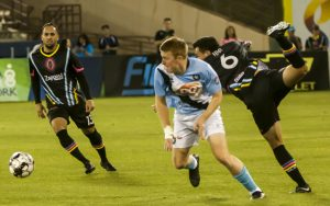 Blake Frischknecht of Orange County FC battles for the ball against the Las Vegas Lights in their 2019 US Open Cup game. Photo: Las Vegas Lights