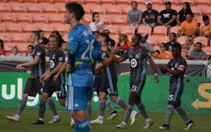 Players from Minnesota United celebrate one of the club's goals in a Round of 16 match against the Houston Dynamo in the 2019 US Open Cup. Photo: Jose Castellanos Vos_Castellanos on Twitter and Instagram