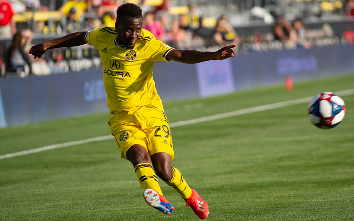 David Accam of the Columbus Crew scored the lone goal in a 1-0 Fourth Round win over the Pittsburgh Riverhounds in the 2019 US Open Cup. Photo: Ralph Schudel | Twitter, IG: @schudel_ralph
